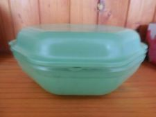 Vintage AGEE PYREX HEXAGON GREEN OVENWARE GLASS DISH & LID