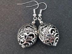 Metal Bead Earrings Aztec Earrings Silver Bead by CosmicRage, $9.95