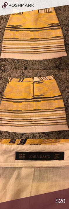 "ⓏⒶⓇⒶ  Aztec Woven Mini Skirt, Size Medium Aztec Woven Skirt ✨ yellow, black and cream ✨waist 15"" length 17"" Zara Skirts Mini"