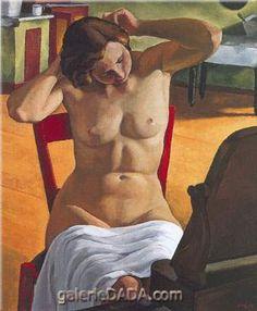 Nude, Circa 1933 by Edwin Holgate (Canadian, Art Gallery of Ontario, Toronto Group Of Seven Artists, Franklin Carmichael, Piero Manzoni, Toronto, Art Gallery Of Ontario, Human Figure Drawing, Art Deco, Mirror Art, Mirrors