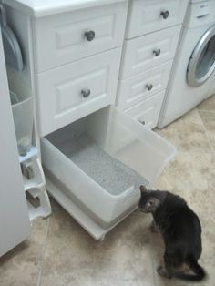 A pull-out litterbox in the laundry room … notch allows cat easy entry, pullout makes cleaning staff happy. A pull-out litterbox in the laundry room … notch allows cat easy entry, pullout makes cleaning staff happy. Laundry Room Storage, Closet Storage, Diy Storage, Storage Shelves, Storage Ideas, Laundry Shelves, Laundry Closet, Cleaning Closet, Cabinet Storage