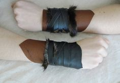 Set Leather Cuffs  Viking Barbarian Tribal Fur by FolkOfTheWood