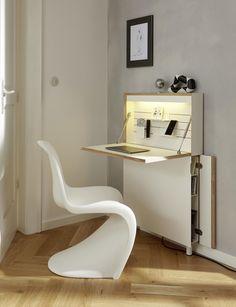 Flatmate Wall Desk by Müller Möbelwerkstätten Folding Furniture, Office Furniture, Furniture Design, Space Saving Desk, Space Saving Furniture, Small Rooms, Small Spaces, Wall Desk, Desk Areas