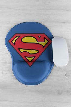 Kit Bloco de Anotações + Mousepad Com Descanso de Mão DC Comics Modelo Superman Logo Oficial