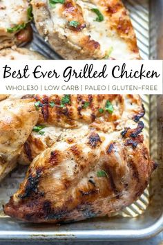 This recipe is for the tastiest, juiciest grilled chicken that is the perfect protein in any meal. This grilled chicken comes together with only five ingredients and it's so basic but so delicious. And because the ingredients are so minimal, this grilled chicken fits into almost any dietary preference. This recipe is paleo, Whole30 compliant and low carb. #paleo #paleorecipes #whole30 #whole30recipes #lowcarb Paleo Chicken Recipes, Paleo Meals, Whole30 Recipes, Dairy Free Recipes, Meat Recipes, Real Food Recipes, Dinner Recipes, Healthy Recipes, Eating Healthy