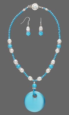 "Jewelry Design - Single-Strand Necklace and Earring Set with Cat's Eye Glass Focal, Cultured Freshwater and Swarovski Crystal Pearls and Mountain ""Jade"" Gemstone Beads - Fire Mountain Gems and Beads"