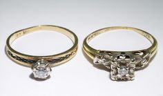 Lot 224: 14k and 10k Gold and Diamond Rings; Two rings with each having a round cut diamond