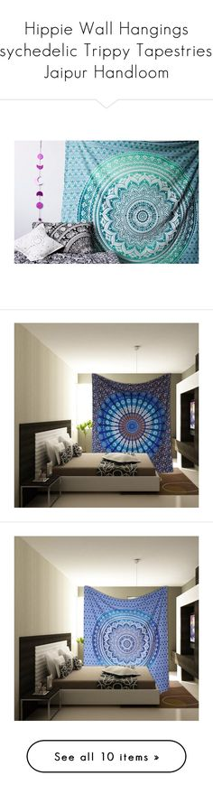 """Hippie Wall Hangings Psychedelic Trippy Tapestries - Jaipur Handloom"" by handy-jaipur ❤ liked on Polyvore featuring home, home decor, wall art, green wall art, tapestry wall art, mandala wall art, interior wall decor, elephant wall art, blue wall art and blue home decor"