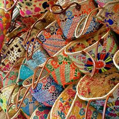 Wall of baskets at the basket market in Marrakech, Morocco