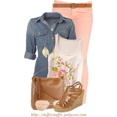 Chambray, Floral Graphics & Peach Skinnies