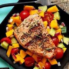 """""""@paleo_newbie_recipes is serving up this stunning piece of @sizzlefishfit Coho Salmon summer style! Served over a homemade mango salad made with @kasandrinos olive, it is a plate of summer perfection! You can find the full recipe on Trina's website! .  Check out all of our perfectly portioned fish and shellfish on our website: www.sizzlefish.com!  _______________________________"""