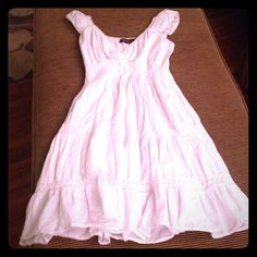 White soft 100% cotton bohemian style sundress Super cute, lovingly worn, very flattering! Small tear on the inside lining in the back from a heel snag, not noticable when worn. Light and comfortable, perfect for summer days.☀️ Speed Control New York Dresses Midi