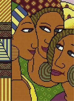0 point de croix 3 femmes africaines - cross stitch 3 african women