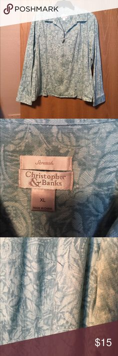 Lightweight jean jacket Light and darker teal zip front jacket. No tags but never worn. Perfect condition. Christopher & Banks Jackets & Coats Jean Jackets