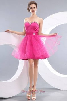 Distinctive Princess Style Bright Pink Short Prom Outfit