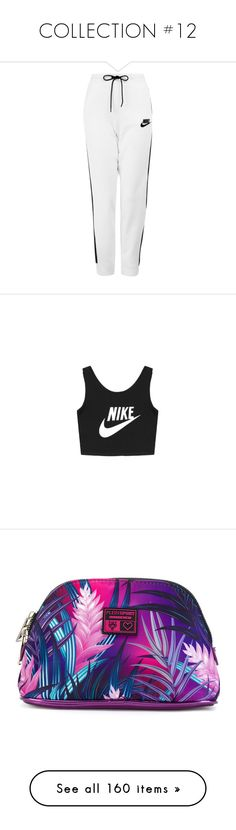 """""""COLLECTION #12"""" by zhangmaryliu2002 on Polyvore featuring activewear, activewear pants, pants, bottoms, sweatpants, jeans, white sweat pants, white jogger sweatpants, jogger sweat pants and nike"""