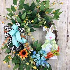 Crochet easter wreath door decoration easter door wreath door   Etsy Easter Crafts To Make, Easter Crochet, Easter Wreaths, Door Wreaths, Decorating Your Home, Hanger, Floral Wreath, Bunny