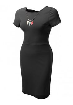 Short Sleeve Fitted A-Line Dress with Removable Necklace - New Arrival