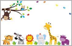 "Animal Wall Decal Nursery - Nursery Wall Decals - Mural Jungle Animals - Nursery Decor - Children's Wall Stickers - Wall Decals - 83"" x 156"""