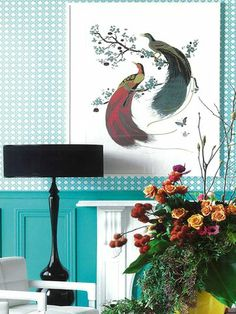 Florence Broadhurst exotic birds, an archived print but I proudly have this in the   turquoise/grey/silver colour way for the kids bathroom as a wallpaper strip.