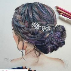 Another drawing of one of my updos 😍😍😍 I love the colors.  #Repost @matleenas_art with @repostapp ・・・ My hair drawing💗 ~Reference picture from @hairandmakeupbysteph ~ I really enjoyed working on this😊  #hairstyle #hairdrawing #art4share #arts_help#art_conquest#hairandmakeupbysteph