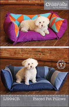 Reconstitué PDF oreiller Pet couture epattern - chien ou lit de chat créé à partir de denim recyclé ou nouveau tissu déhoussable pour un lavage facile