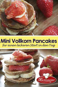 Diese köstlichen Pancakes werden mit gesunden Zutaten gebacken. Servieren Sie die Pancakes mit frischem Obst und süßem Ahorn Sirup!