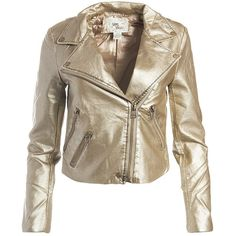 Sans Souci Gold vegan leather metallic moto jacket ($59) ❤ liked on Polyvore featuring outerwear, jackets, gold, vegan leather jacket, metallic gold jacket, gold jacket, biker jacket and motorcycle jackets
