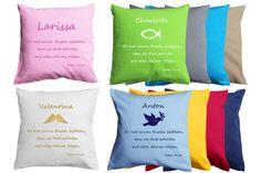 """Super schönes Taufgeschenk! Kissen mit Namen und """"Denn er hat seinen Engeln befohlen..."""" Motto, Super, Throw Pillows, Psalms, Nice Asses, Christmas Presents, Toss Pillows, Cushions, Decorative Pillows"""