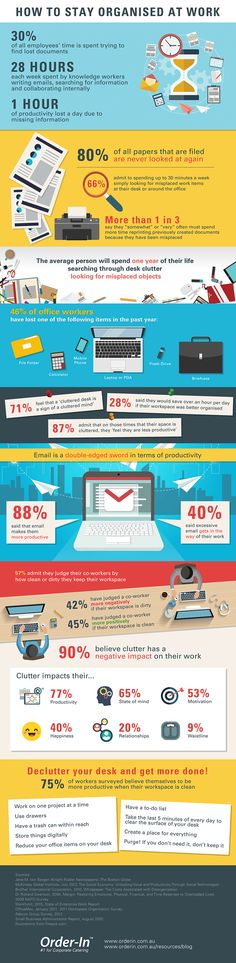How To Stay Organised At Work #Infographic #Business #HowTo