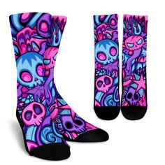 Why be ordinary when you can sport these swirly skull socks? All socks are custom-made-to-order and handcrafted to the highest quality standards. Fun Dress Socks, Cute Socks, Silly Socks, Crazy Socks For Men, Sock Crafts, Candy Skulls, Fashion Socks, Skull Fashion, Patterned Socks
