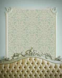 Allover Donatella Damask wall stencil framed with molding | Donatella Damask Stencil | http://www.royaldesignstudio.com/