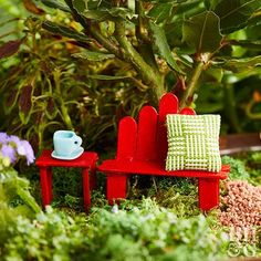 This wooden craft stick fairy table and bench is a classic addition to your fairy furniture collection.