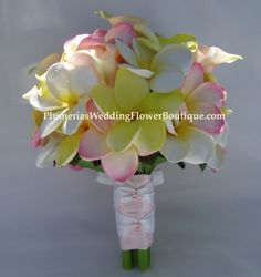 Yellow, White, and Pink Plumeria with Pale Pink Calla Lily