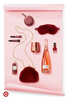 Give gifts to rosé all holiday like Cote des Roses, L'oreal lip gloss, a rose gold glass & more.