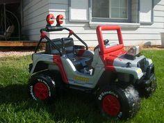 Modified Power Wheels - barbie jeep redone to jurassic park jeep
