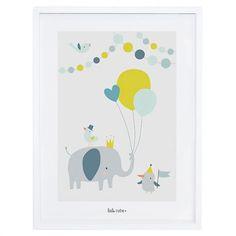 Tableau enfant Affiche encadrée Fête des animaux bleu et vert