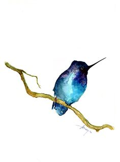 Watercolor painting watercolor bird painting bird art by PabloXart