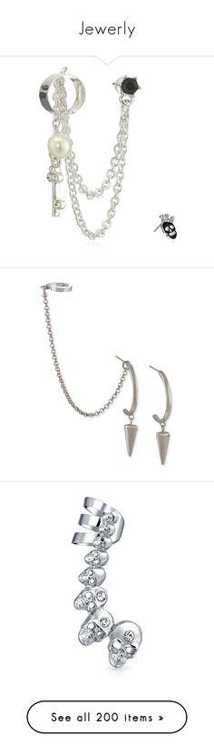 """Jewerly"" by lulu-dusk ❤ liked on Polyvore featuring jewelry, earrings, skull jewellery, betsey johnson, ear cuff stud earrings, studded jewelry, betsey johnson earrings, accessories, silver and earring ear cuff"