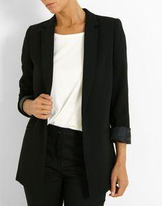 Veste longue en polyester uni noir Femme - Jacqueline Riu