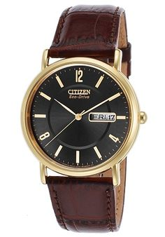 men watches | Top watches Citizen Citizen Men's BM8242-08E Eco-Drive Gold-Tone Stainless Steel Watch with Brown Leather Band