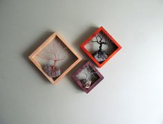 Customizable Set of 3 Geometric Framed Hanging Jewelry Organizers, Wire Trees on Driftwood Knarls  by DriftingConcepts