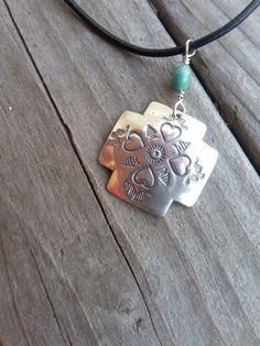 Sterling Silver Cross with Hearts on Turquoise and by smisko