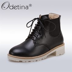 c09312891c9 Odetina 2017 Fashion Lace Up Ankle Booties Chunky Low Heel Womens Chelsea  Boots Platform Winter Warm Casual Shoes Big Size 34 43-in Ankle Boots from  Shoes ...