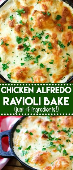 Chicken Alfredo Ravioli Bake is a cheesy crowd-pleasing dinner that has only 4 ingredients! Takes just minutes to get on the table! for a crowd Chicken Alfredo Ravioli Bake - Life With The Crust Cut Off Chicken Ravioli, Baked Chicken, Chicken Meals, Healthy Chicken, Ravioli Soup, Chicken Pasta Dishes, Mushroom Ravioli, Cheap Chicken Recipes, Cheesy Chicken