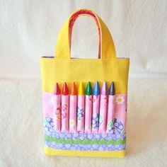 CLEARANCE ARTOTE MINI Coloring Bag Crayon Bag Art Tote in Lady Pink Bug