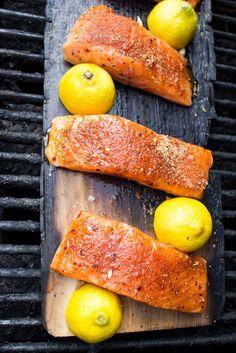 Only 10 minutes to grill this super tender and moist lemon plank smoked salmon   littlebroken.com @littlebroken