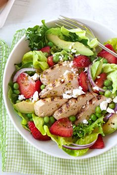 Grilled Chicken-and-Strawberry Cobb Salad  - CountryLiving.com
