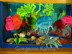 fascinating creatures from the ocean / that would make a great idea for a classroom board, creatures created by the children.