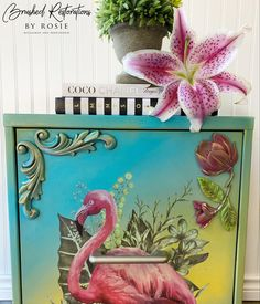 Always finish your favorite masterpieces with Paint Couture Glaze & waxes. This turned out beautifully Brushed Restorations by Rosie a perfect piece for anyone who wants elegant, tropical vibes in their home year round! 🌺 Glazing Furniture, Tropical Vibes, Your Favorite, Glaze, Restoration, It Is Finished, Couture, Painting, Elegant
